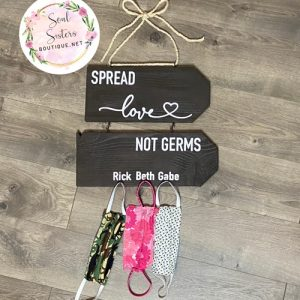 spread love not germs mask hanger